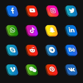Pacote de coleção 3d de ícones e logotipos de mídia social