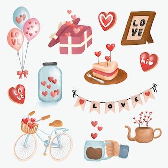 Pacote de coleção de decorações fofas para presente de dia dos namorados desenhado à mão