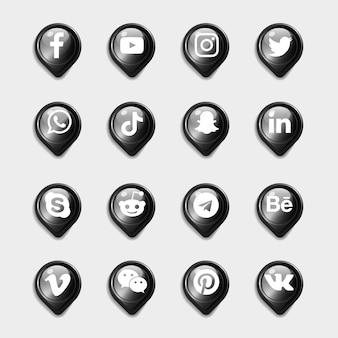 Pacote de coleção de ícones 3d pretos de mídia social
