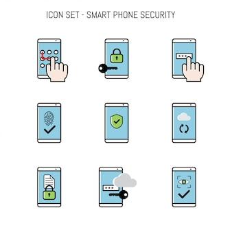 Pacote de coleção de ícones com smartphone