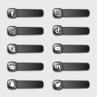 Pacote de coleção de ícones de blac de mídia social