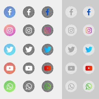 Pacote de coleção de ícones de mídia social