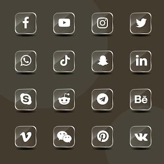Pacote de coleção de ícones de vidro prateado de mídia social