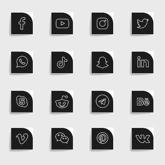 Pacote de coleção de ícones simples de mídia social