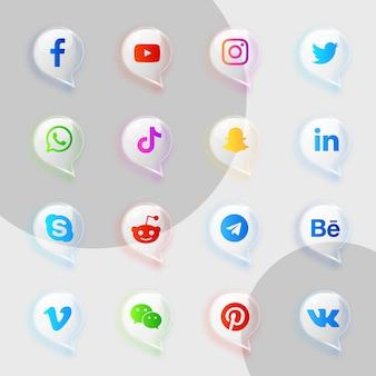Pacote de coleção de ícones transparentes e macios de mídia social
