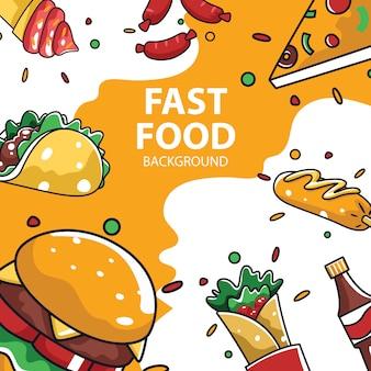 Pacote de coleção de itens de fast-food para fundo de mídia social
