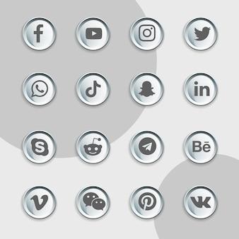 Pacote de coleção de latas de ícones de mídia social
