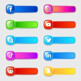 Pacote de coleção de rótulos de ícones 3d de mídia social