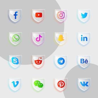 Pacote de coleção de vidro de ícones de mídia social