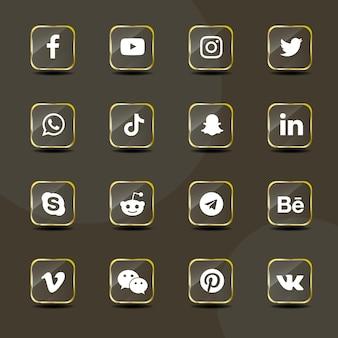 Pacote de coleção de vidro dourado de ícones de mídia social