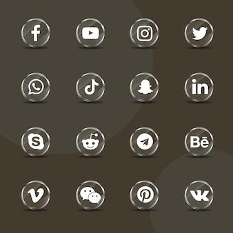 Pacote de coleção de vidro prateado de ícones de mídia social