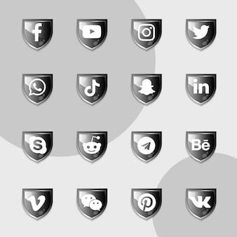 Pacote de coleção escudo preto de ícones de mídia social