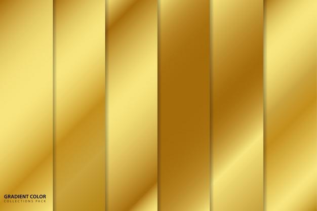 Pacote de coleções de cores gradiente ouro