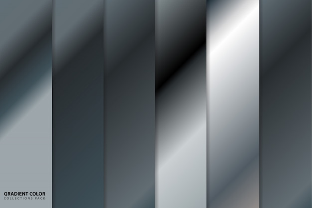 Pacote de coleções de cores gradiente prata