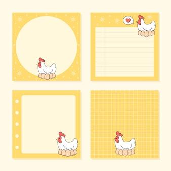 Pacote de coleções de galinha e ovos de bloco de notas