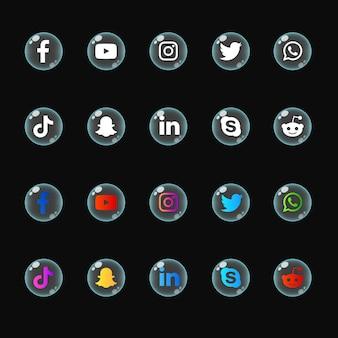 Pacote de coleções de ícones de mídia social