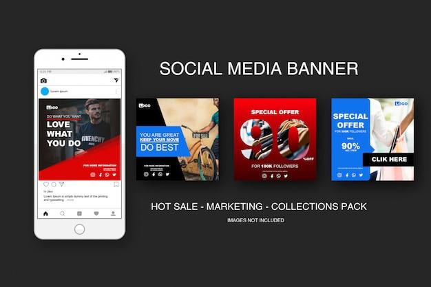 Pacote de coleções do banner sale instagram Vetor Premium