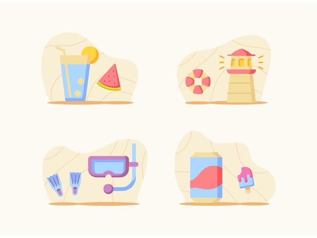 Pacote de coleta de conjunto de férias de verão com estilo plano de desenho em cores