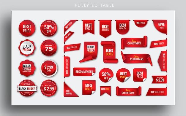 Pacote de coleta de fita vermelha para banners de eventos e crachás de etiquetas de preço