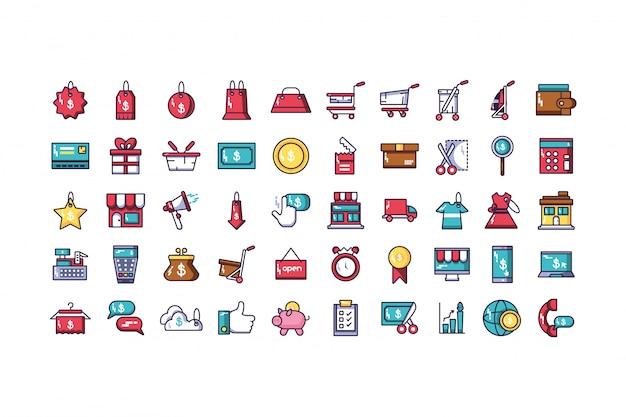 Pacote de comércio eletrônico com conjunto de ícones