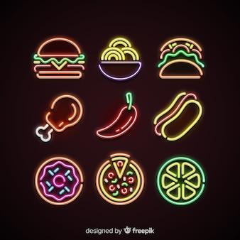 Pacote de comida de néon colorido