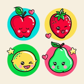 Pacote de comida kawaii colorida