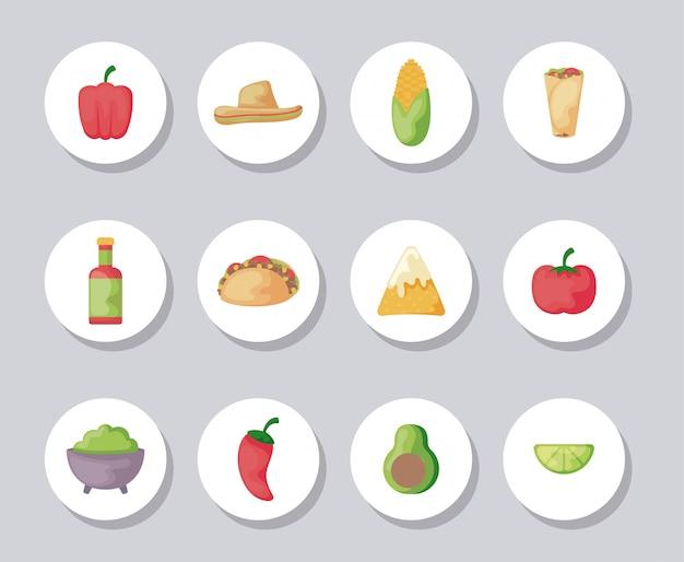Pacote de comida mexicana com conjunto de ícones