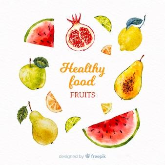 Pacote de comida saudável em aquarela