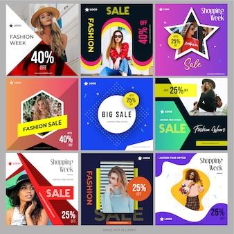 Pacote de compras de mídia social para marketing