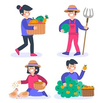 Pacote de conceito de agricultura orgânica