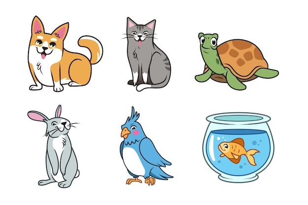 Pacote de conceito de animais de estimação diferentes