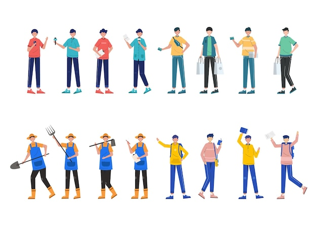 Pacote de conjunto de caracteres de 4 homens de várias profissões, estilos de vida, carreira e expressões de cada personagem em diferentes gestos,