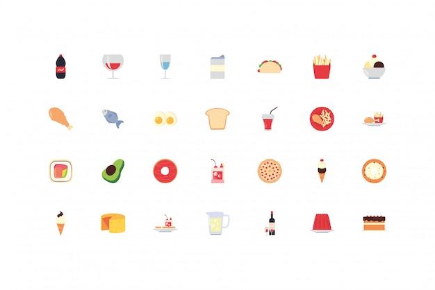 Pacote de conjunto de ícones de alimentos e bebidas