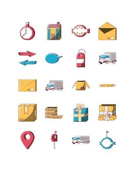 Pacote de conjunto de ícones de entrega de variedade