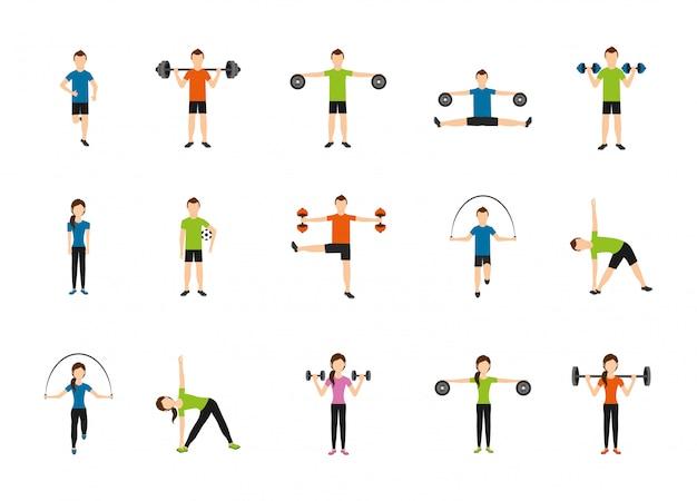 Pacote de conjunto de ícones de ginásio