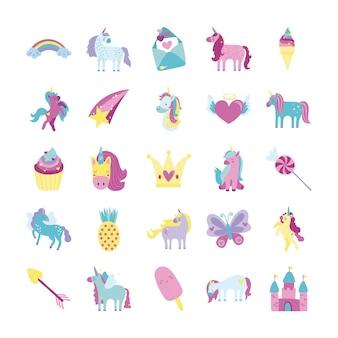 Pacote de conjunto de ícones de unicórnio de conto de fadas