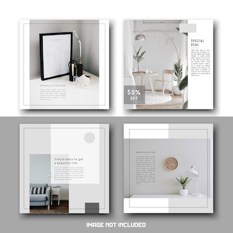 Pacote de conjunto de modelos de postagens de mídia social minimalista simples