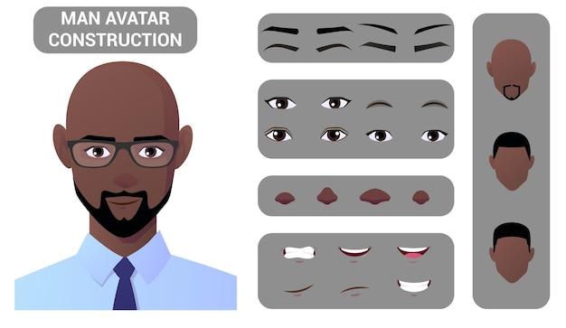 Pacote de construção de rosto e criação de personagens de homem negro com partes de cabelo, olhos, lábios e cabeça para a criação de avatar