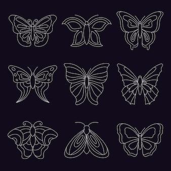 Pacote de contorno de borboleta plana linear