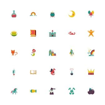 Pacote de contos de fadas conjunto de ícones