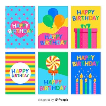 Pacote de convite de aniversário de mão desenhada