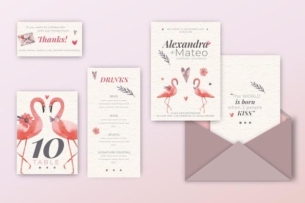 Pacote de convite de casamento com flamingos