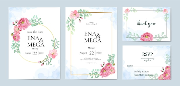 Pacote de convite de casamento com lindas flores folhas
