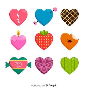 Pacote de coração colorido