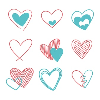Pacote de coração de desenho desenhado à mão