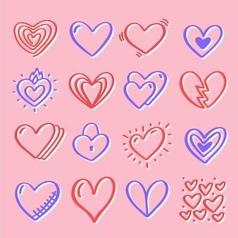 Pacote de coração desenhado à mão