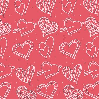 Pacote de corações amor linha estilo padrão ilustração design
