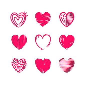 Pacote de corações desenhados à mão