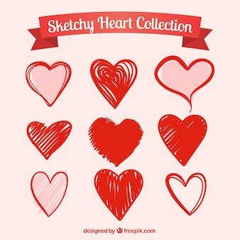 Pacote de corações vermelhos desenhados à mão