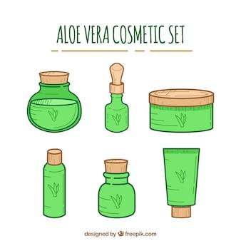 Pacote de cosméticos de aloe vera desenhados à mão